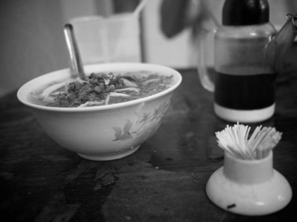 B&W photo noodle soup Vietnam